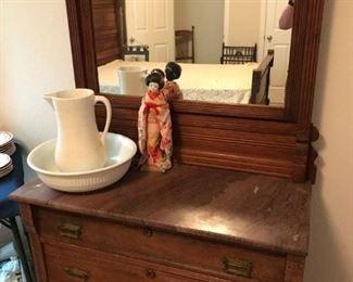 Marble Top Dresser, Wash bowl,  Japanese Doll