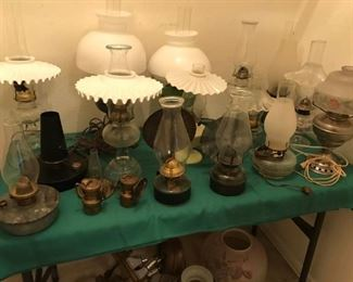Vintage oil burning and electric lamps, Aladdin, fluted milk glass shades