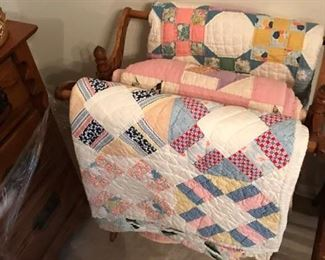 Handmade Quilts and antique rack