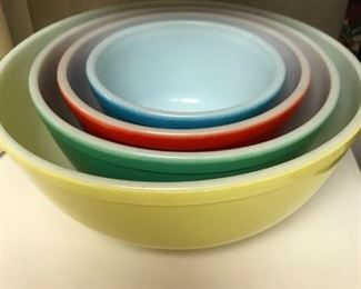 Rainbow colored Pyrex Mixing Bowls