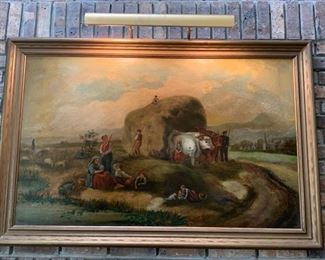 Antique Oil on Canvas of Family Farm Scene