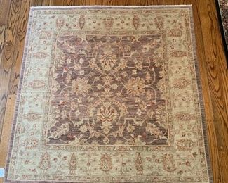 "105. Hand Knotted Square Wool Rug (59"" x 59"")"