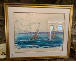 "135. Sailboat Gouache Painting on Map of Nantucket Sound in Gold Frame (55"" x 45"")"