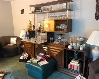 Adrian Pearsall Mid-Century Wall Unit with Dropdown Bar