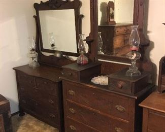 Oil lamps, dressers with mirrors