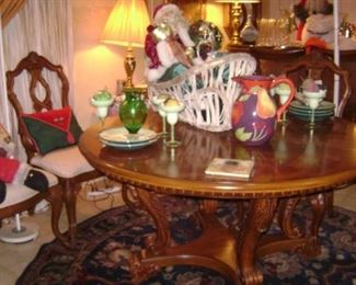 NICE ROUND , SMALL DINING ROOM TABLE WITH 6 MATCHING CHAIRS--NEWER PIECE OF QUALITY FURNITURE--HAS ONE 2 FOOT WIDE LEAF