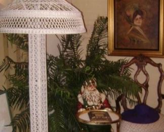 1930'S WICKER EIFFEL TOWER LAMP--WORKS ! A LARGE , WELCOMING DOOR SANTA