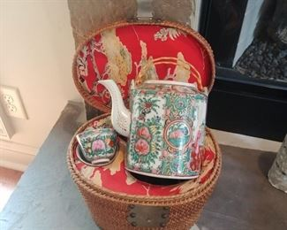 Antique Asian picnic or lunchtime tea basket complete with 2 cups and teapot with lid