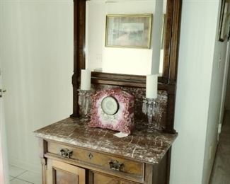 antique hall chest w/mirror