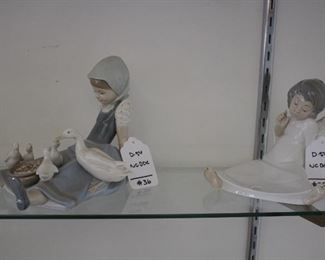 D54 #35 Sitting Angel Lladro/ D54 #36 Girl with Ducks Lladro