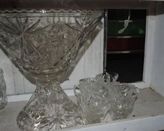Punch bowl, base and cups