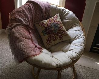 Pair of Papasan Chairs with foot stools
