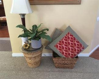 Lamp,Pillows,Wicker
