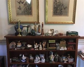 Lots of nice small antiques, Bookshelf, Framed Prints.