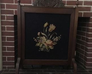 Antique Embroidered Fireplace Screen.