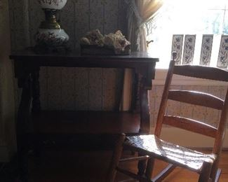 Antique Gone with the wind lamp.Antique Rocker, Antique Table.