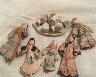Antique Tiny Dolls & Dishes.
