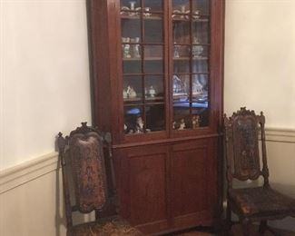 Antique Spanish Leather Painted Chairs & Antique Corner China Cabinet.