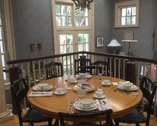Vintage Round Table, Rattan Chairs, China.