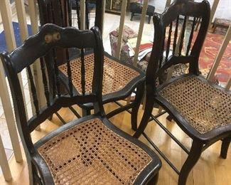 Set of 6 Antique Painted Chairs with Cane Bottom Seats.