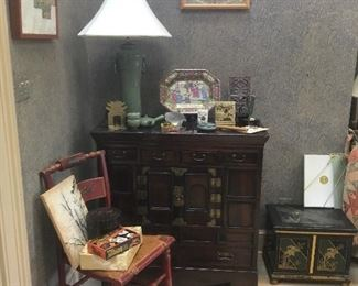 Asian Items, Chairs,Cabinet, Metal Trunk, Lamps, China,etc...