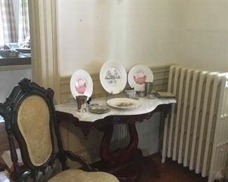 Antique Victorian Chair & Marble Top Table. Fredericksburg, Va Dishes