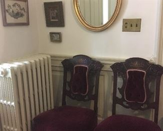 Pair of Antique Victorian Chairs, Mirror