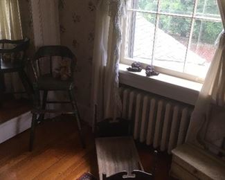Antique Doll Bed & Child's High Chair.