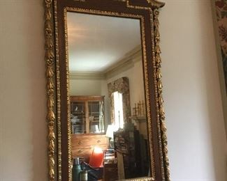 Antique Federal Style Gilt Mirror with Gooseneck Penement & Urn.