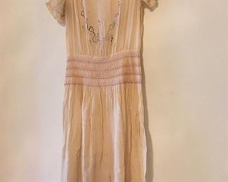 Circa 1927 -28 Beautiful Smocked & Embroidered Dress.