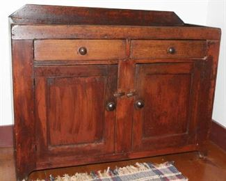 "Antique 19th Century double door/2 Drawer Dry Sink (34""H at back x45""W x 17""D)"
