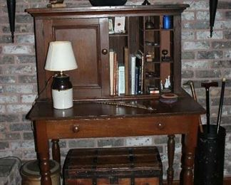 "Overall View American Antique Plantation Desk with wide drawer and double doors.  Bottom Desk Area (32""H x 42""W x 27"" D) Top Section (25""H x 12""D)"