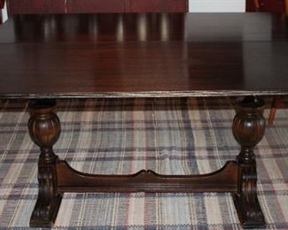 "Antique Mahogany Trestle Flip Top Console/Dinning Table 29""H x 54""L x 20""D when closed. Opens to 40"" x 54"" Dining Table.  Open View."