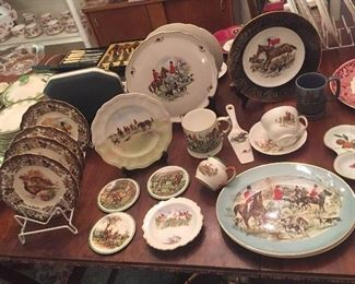 English china with fox hunt scenes: plates, platters, mugs & more by Royal Doulton, Spode, Foley, et al