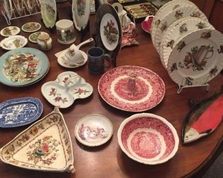 "More china: Child's Blue Willow Staffordshire platter, triangular Mason's ""Nabob"" bowl, Mason's ""Vista"" red transferware bowl & server with center handle, fish plates"