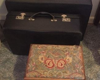 Vintage suitcases by Antler (from England), old needlepoint footstool with bird