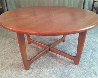 "Round mid century teak coffee table (20"" high, 39.5"" diameter)"