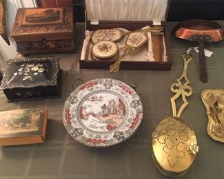 Victorian boxes, vintage vanity set in presentation box, antique transferware warming plate with copper base, brass bed warmer, copper pan