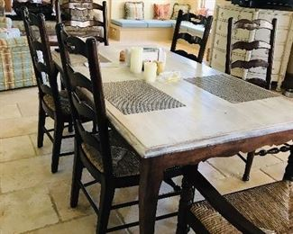 Farm house kitchen table with 6- Maitland Smith chairs
