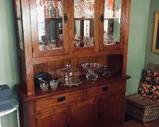 Oak Craftsman-style oak china cabinet with hutch