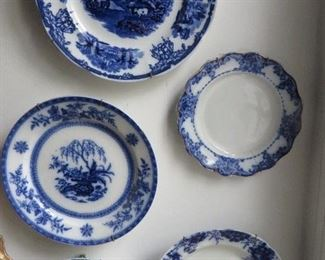 Flow Blue earthenware  / porcelain plates