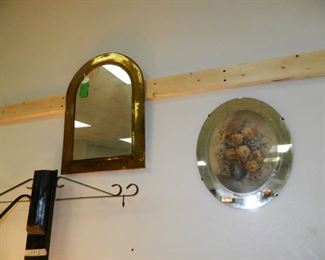 Brass mirror, mirrored wall art