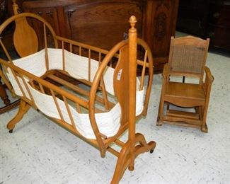 Cradle, child's rocker/high chair