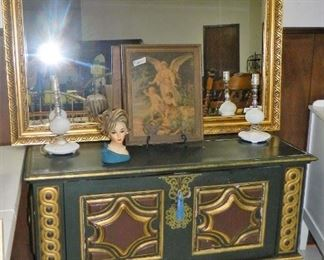 Drop front chest, Heavy beveled mirror, Hobnail lamps, vintage head vase