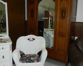 Wicker chair, Large bevel mirror Oak Armoire