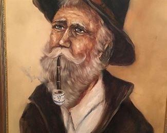 Painting of Gray hair man with beard smoking pipe