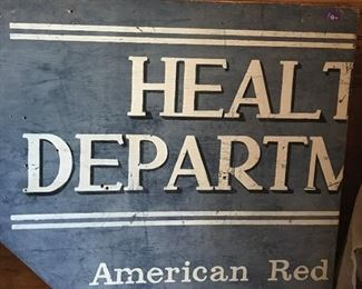 A rescued part of history! A good portion of a sign that reads Health Department American Red