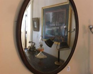 Nice vintage oval heavy beveled mirror