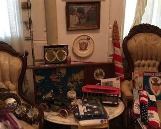 Victorian Parlor chair on left with all kinds of cool vintage finds