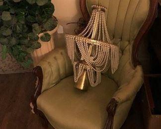 Pretty parlor chair & gorgeous vintage light fixture